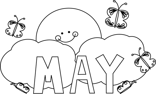 May Clipart Black and White
