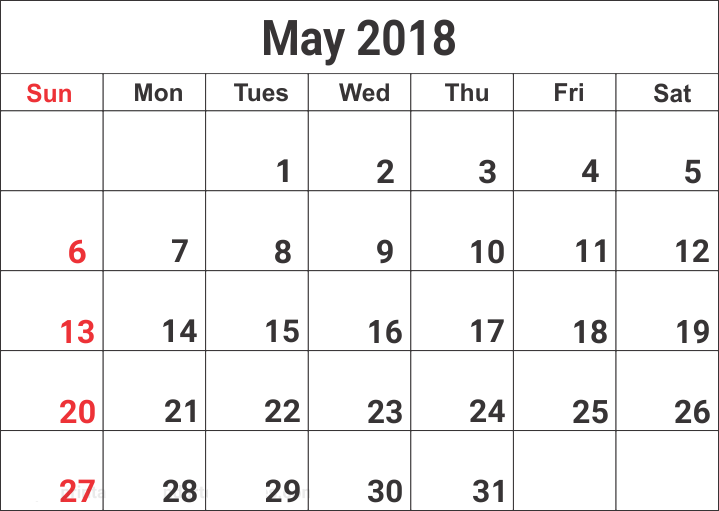 May Month 2018 Blank Calendar