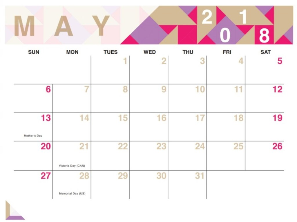 May Month Calendar 2018
