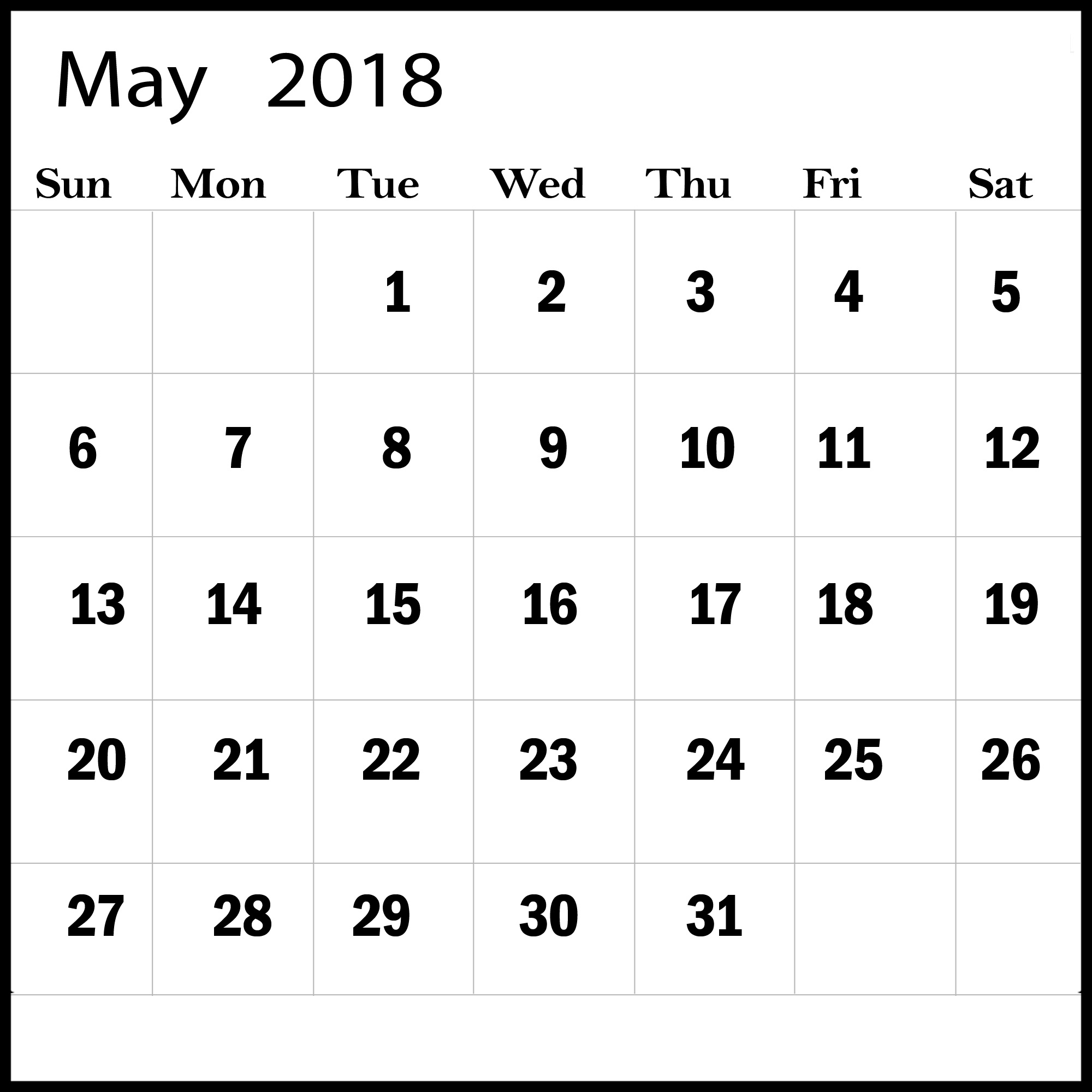 May Month Calendar For 2018