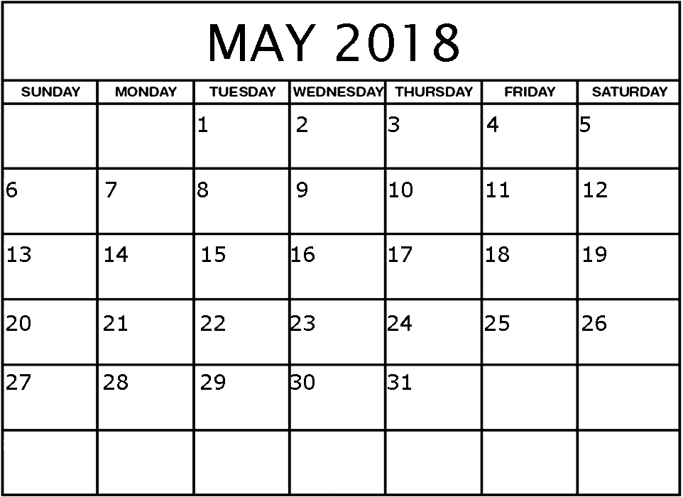 May Monthly Calendar For 2018