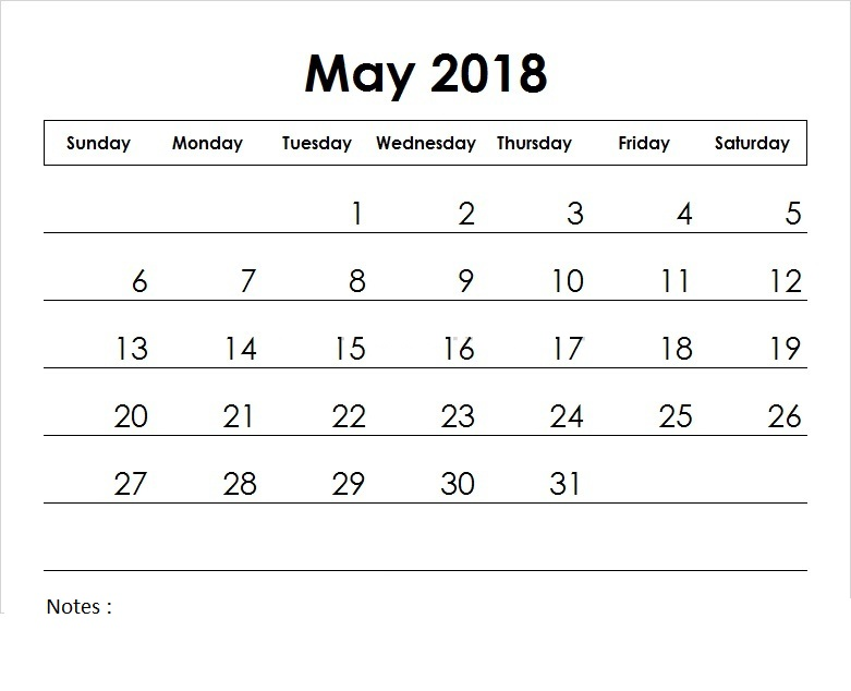 May Printable Calendar Template for 2018