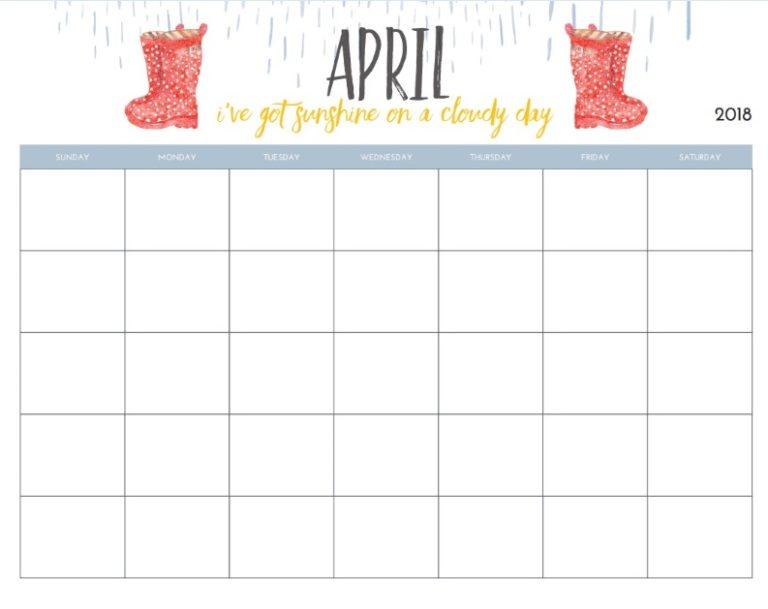 Monthly Blank April Planner 2018