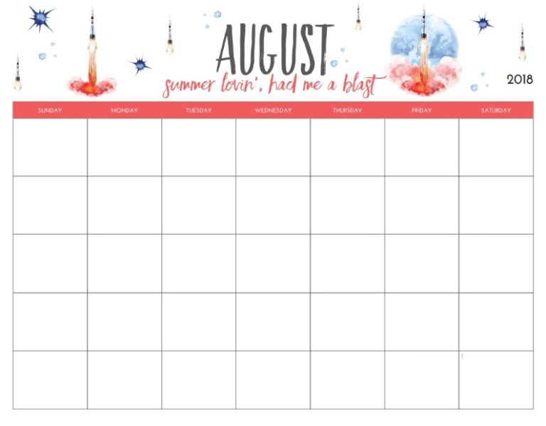 Monthly Blank August Planner 2018