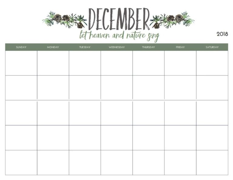 Monthly Blank December Planner 2018