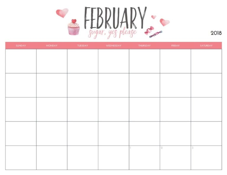 Monthly Blank February Planner 2018