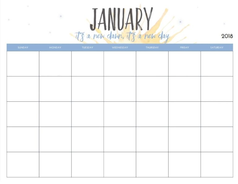 Monthly Blank January Planner 2018