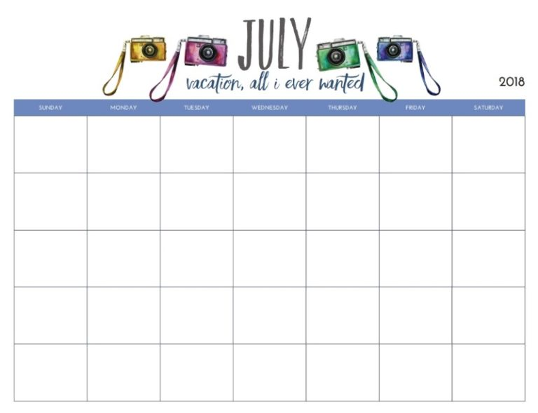 Monthly Blank July Planner 2018