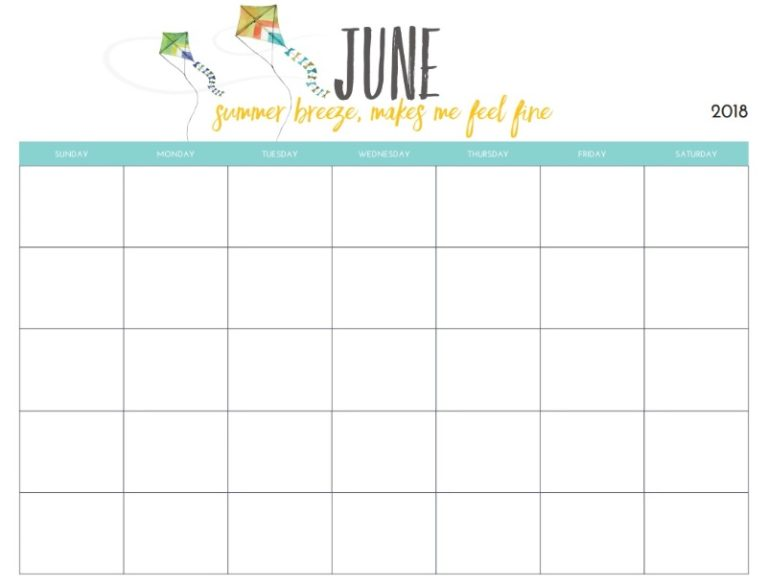 Monthly Blank June Planner 2018