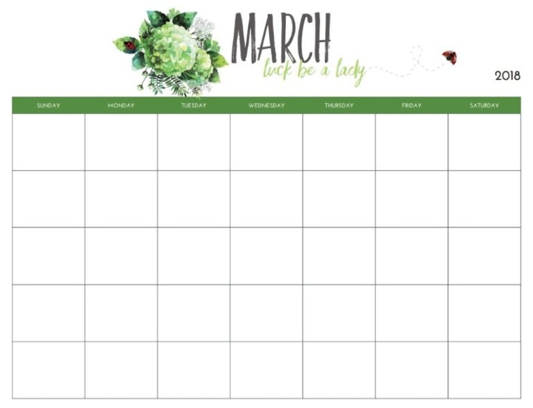Monthly Blank March Planner 2018