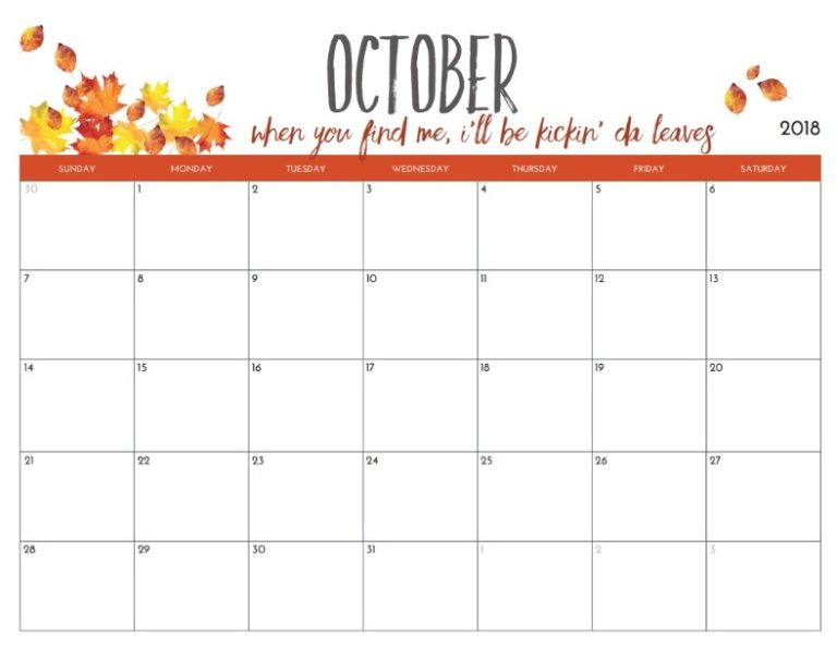 Monthly Blank October Planner 2018
