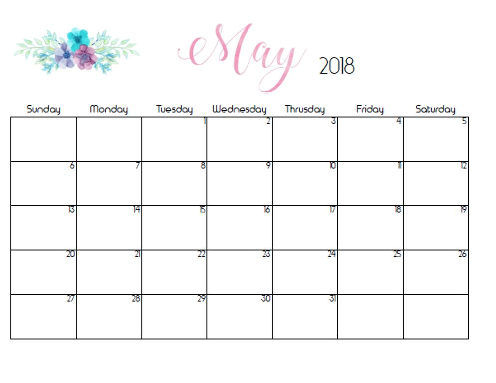 Monthly Calendar 2018 May