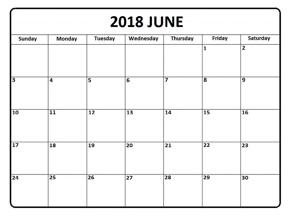 Monthly Calendar June 2018 Printable