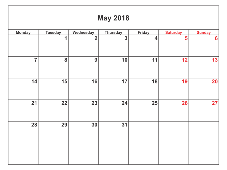 Monthly Calendar May 2018 Printable