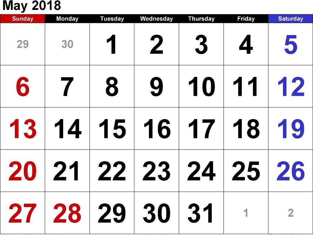 Monthly May 2018 Calendar