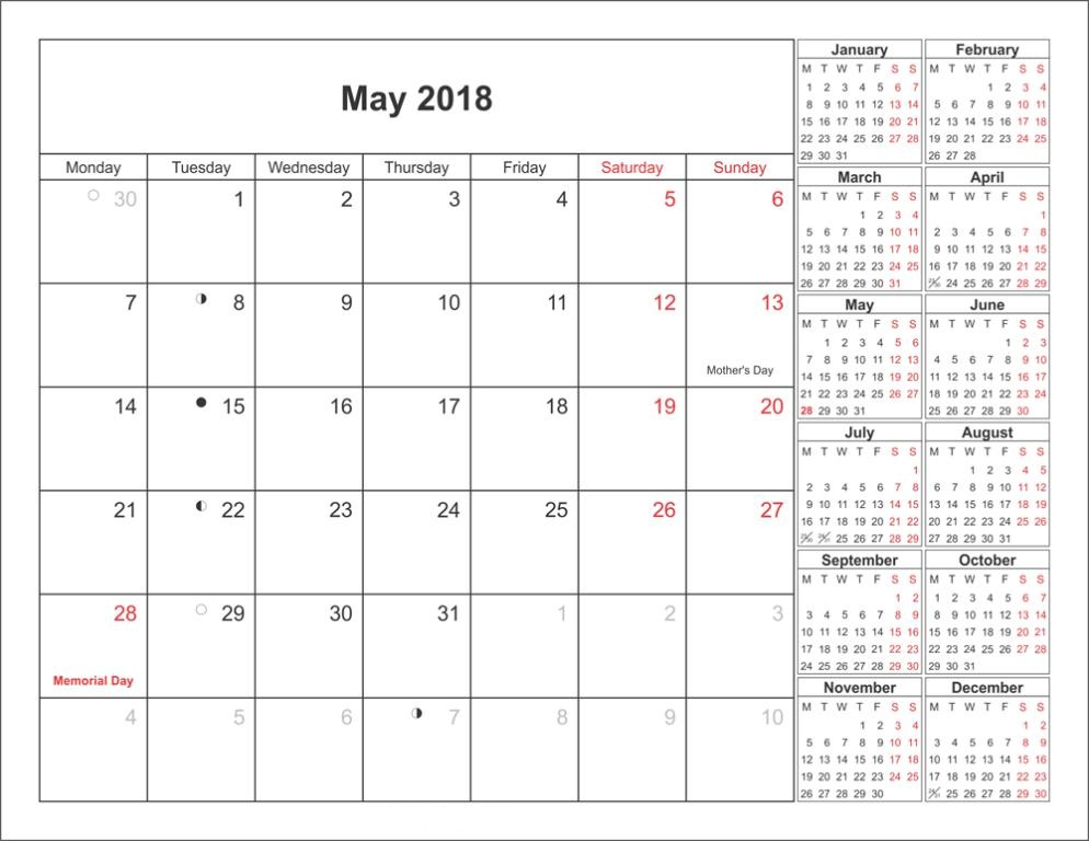 Monthly May Calendar 2018
