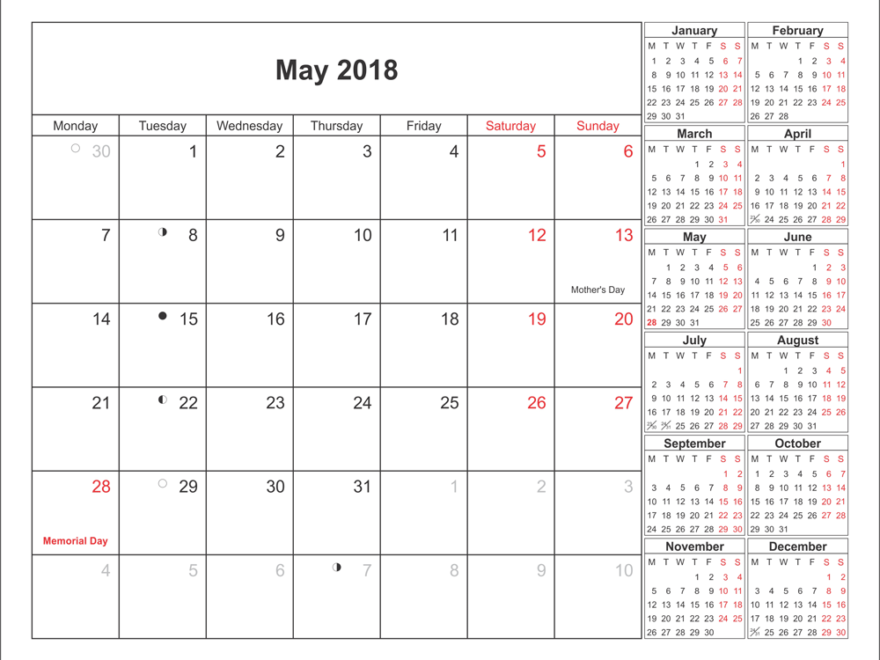 Monthly May Calendar For 2018