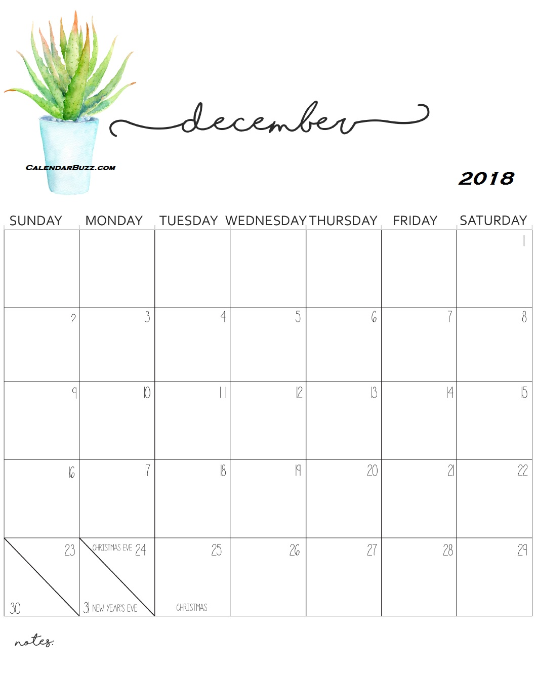 Monthly Wall Calendar 2018 December