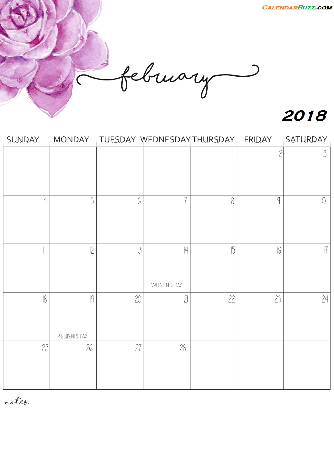 Monthly Wall Calendar 2018 February