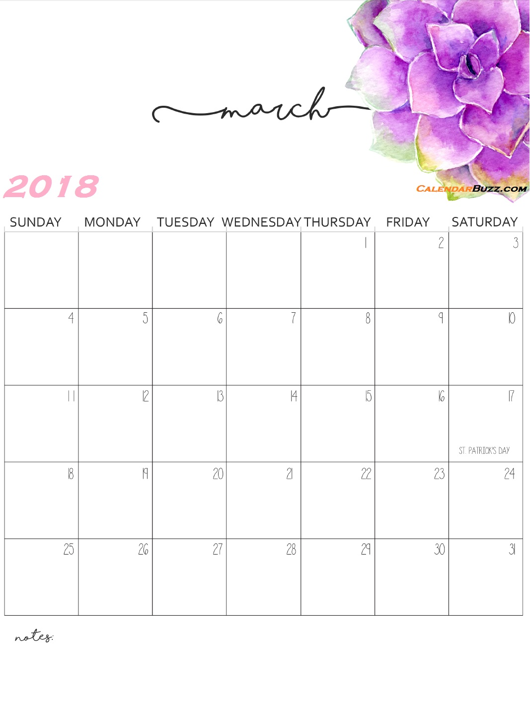 Monthly Wall Calendar 2018 March