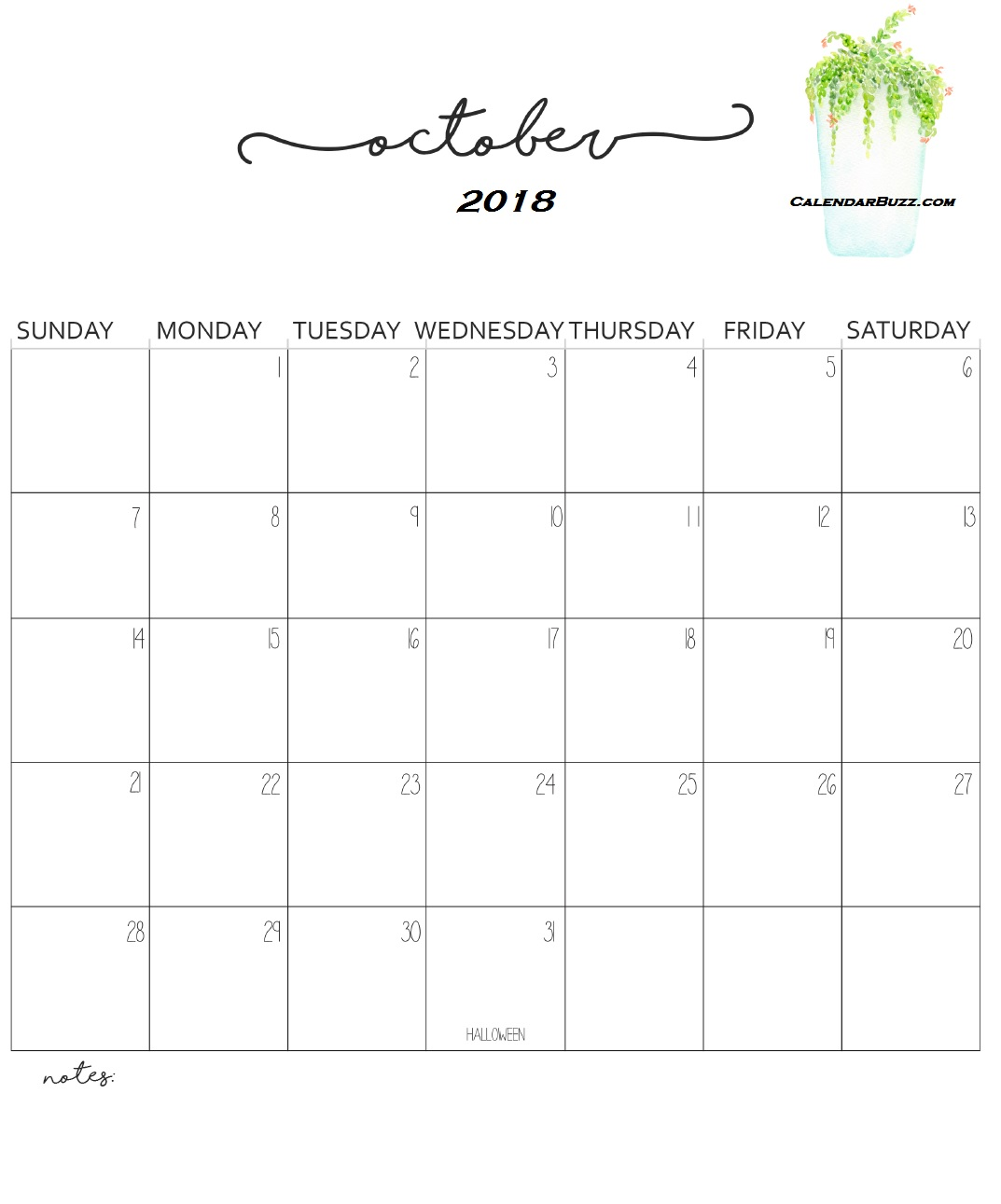 Monthly Wall Calendar 2018 October