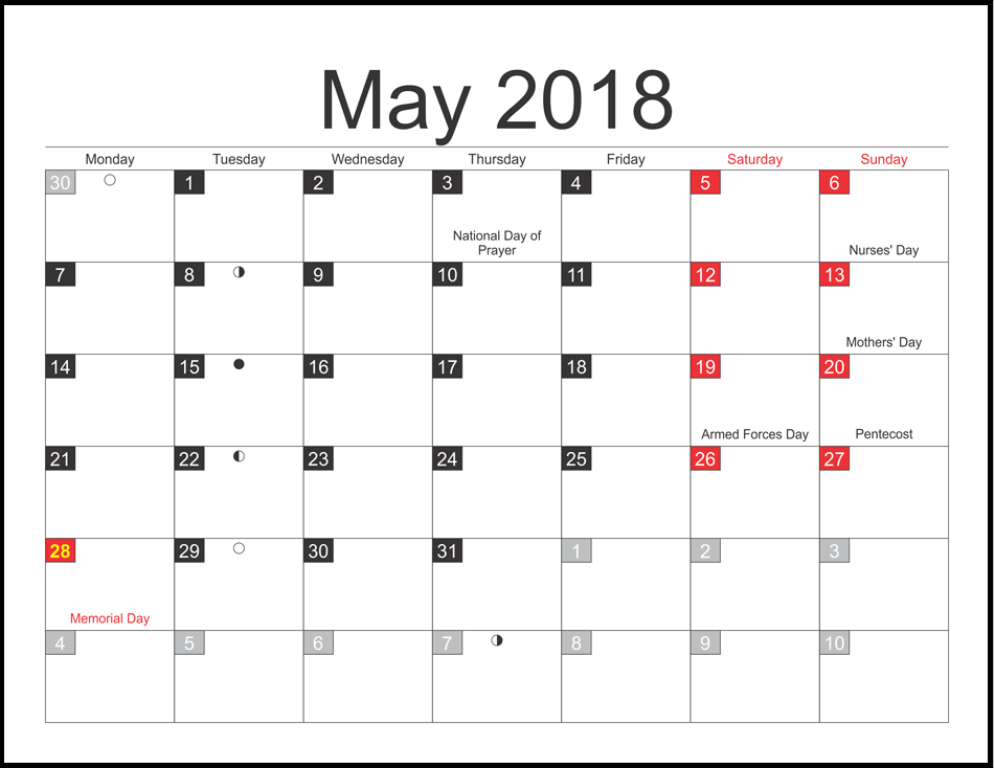 Moon Calendar for May 2018