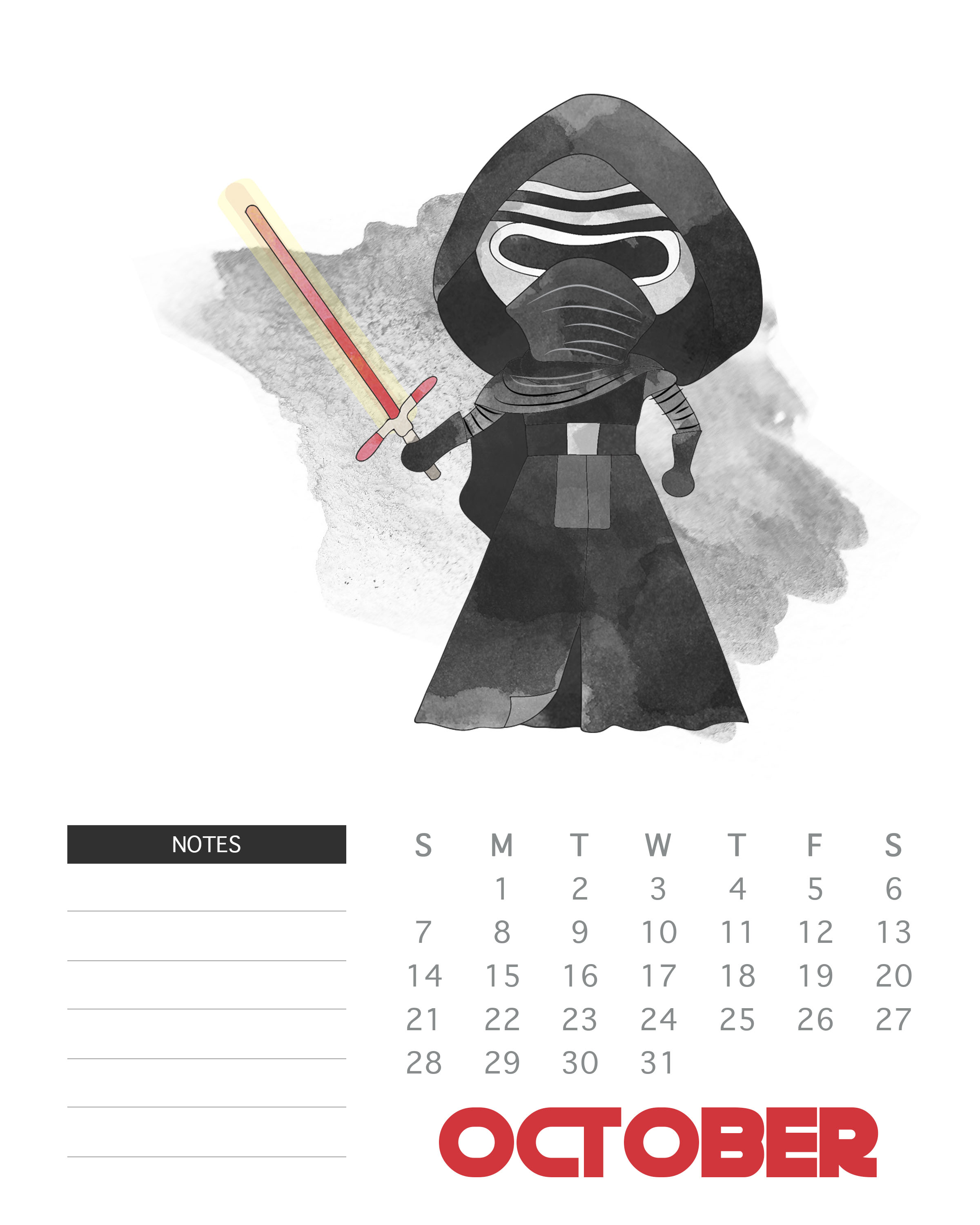 October 2018 Star Wars Calendar Template