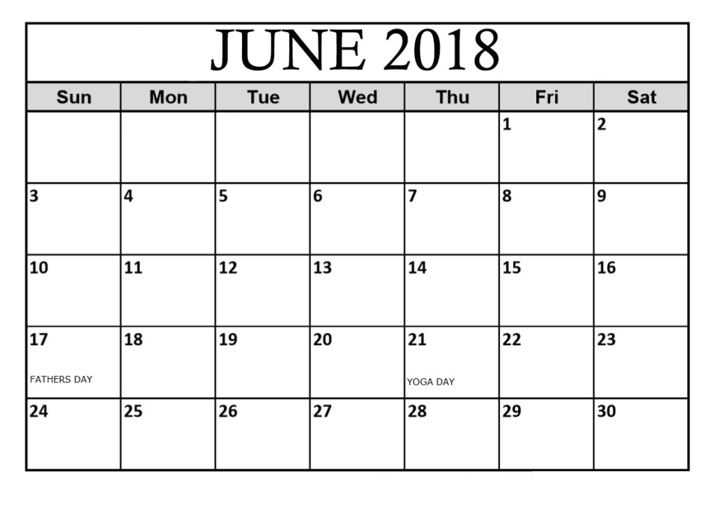 Online June 2018 Calendar With Holidays