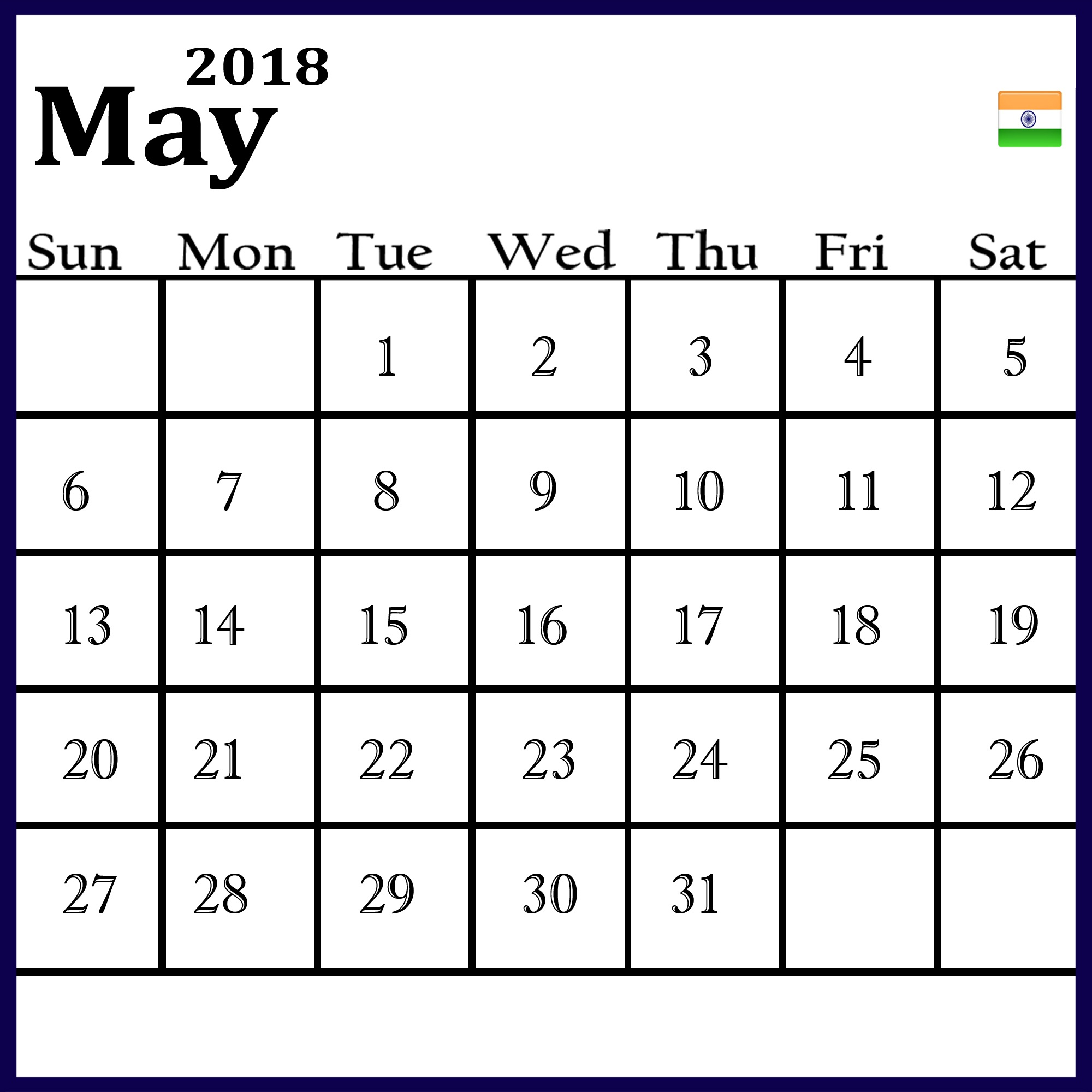 Online May 2018 Calendar India