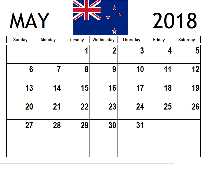 Online May 2018 Calendar NZ