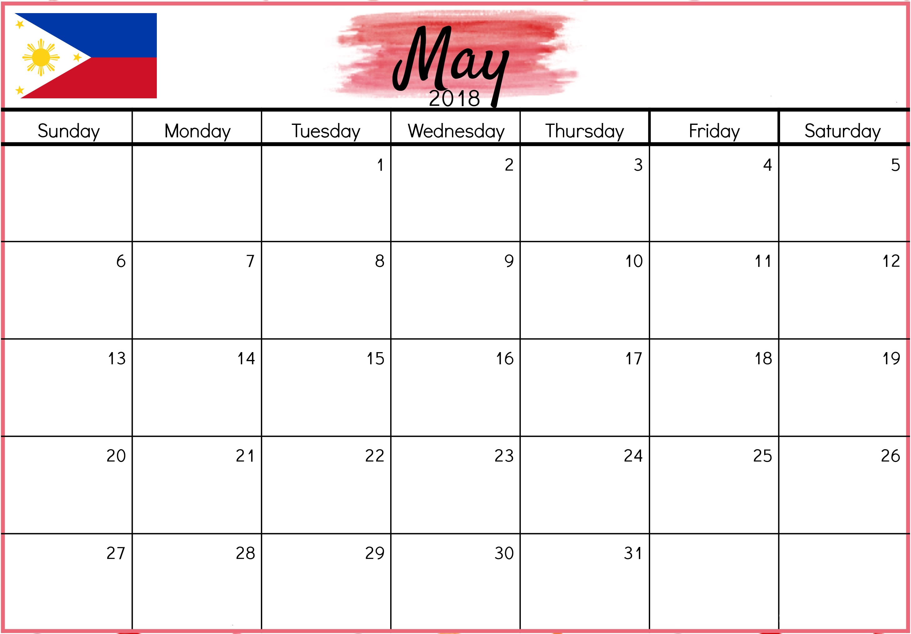 Online May 2018 Calendar Philippines