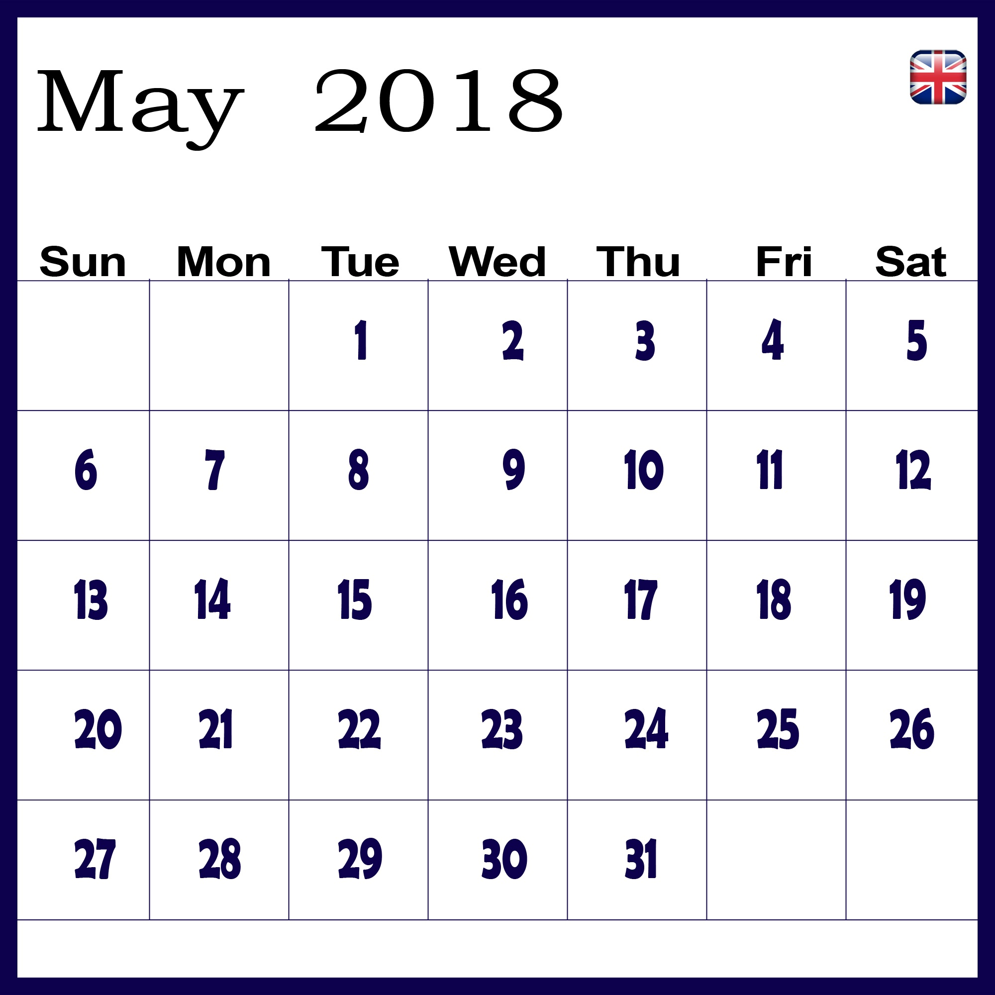 Online May 2018 Calendar UK
