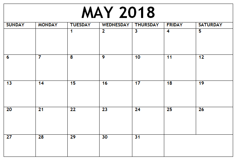 Online May Calendar For 2018