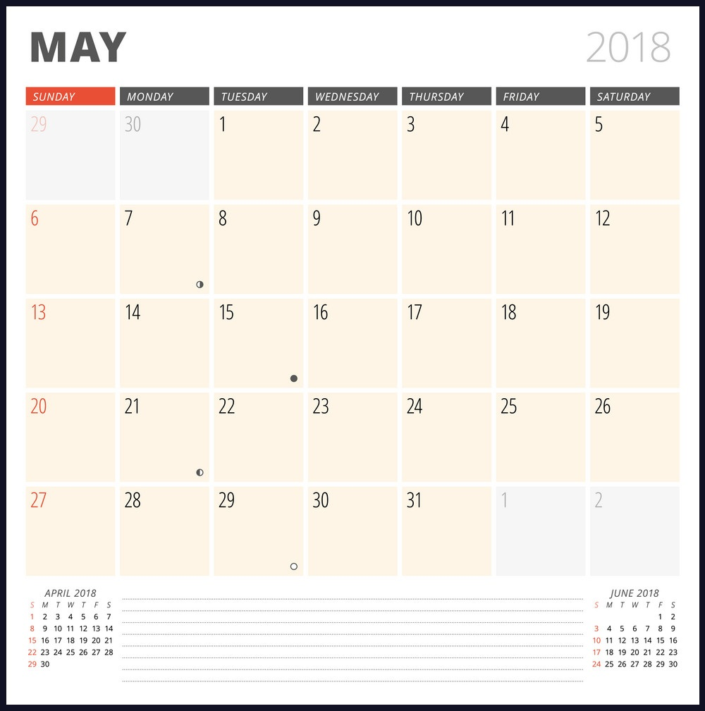 Print May 2018 Calendar For Wall