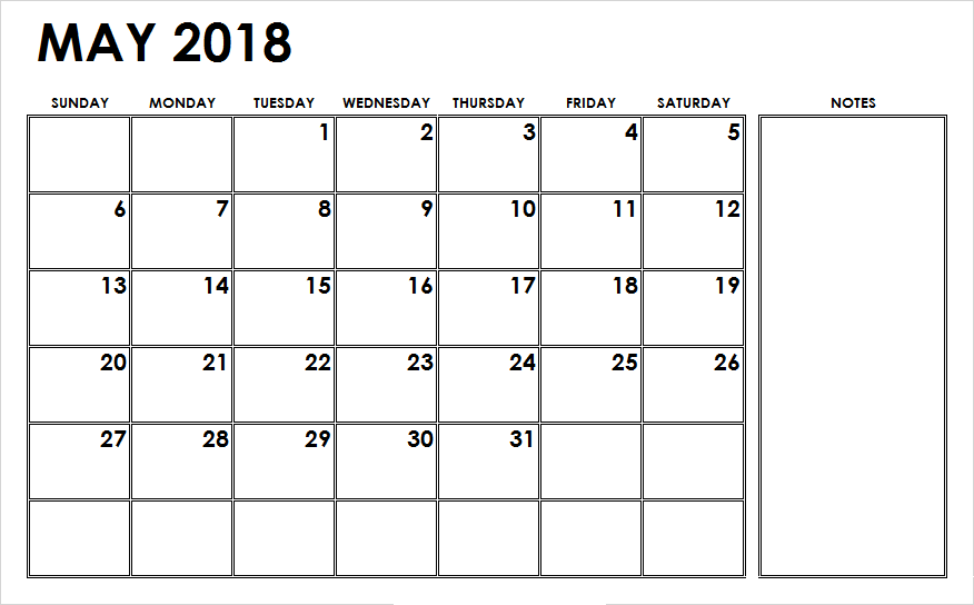 Print May 2018 Calendar With Notes