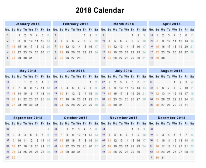 Printable 2018 One Page Calendars