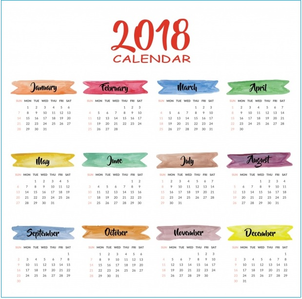 Printable 2018 Wall Calendar Design