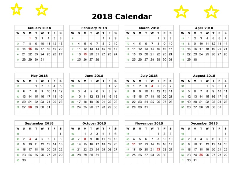 Printable Calendar 2018 One Page With Holidays