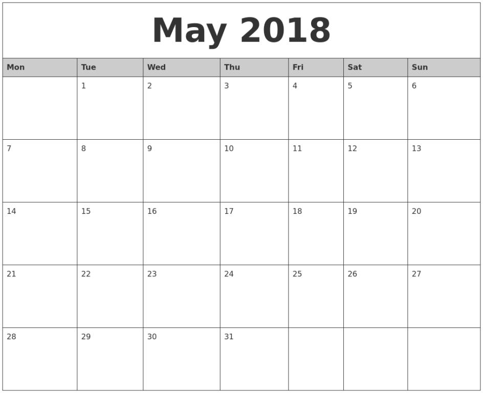 Printable Calendar For May 2018
