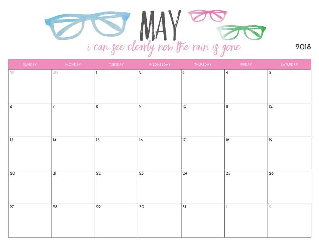 Printable Calendar May 2018 Monthly Template