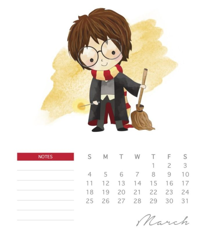 Printable Harry Potter Calendar 2018 March