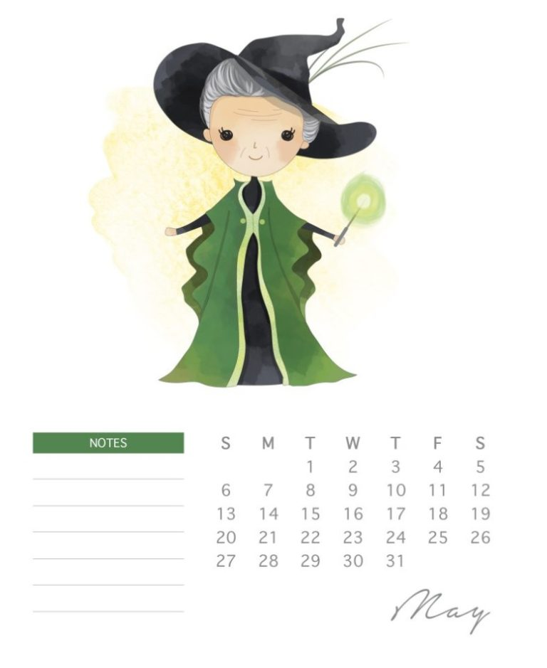 Printable Harry Potter Calendar 2018 May