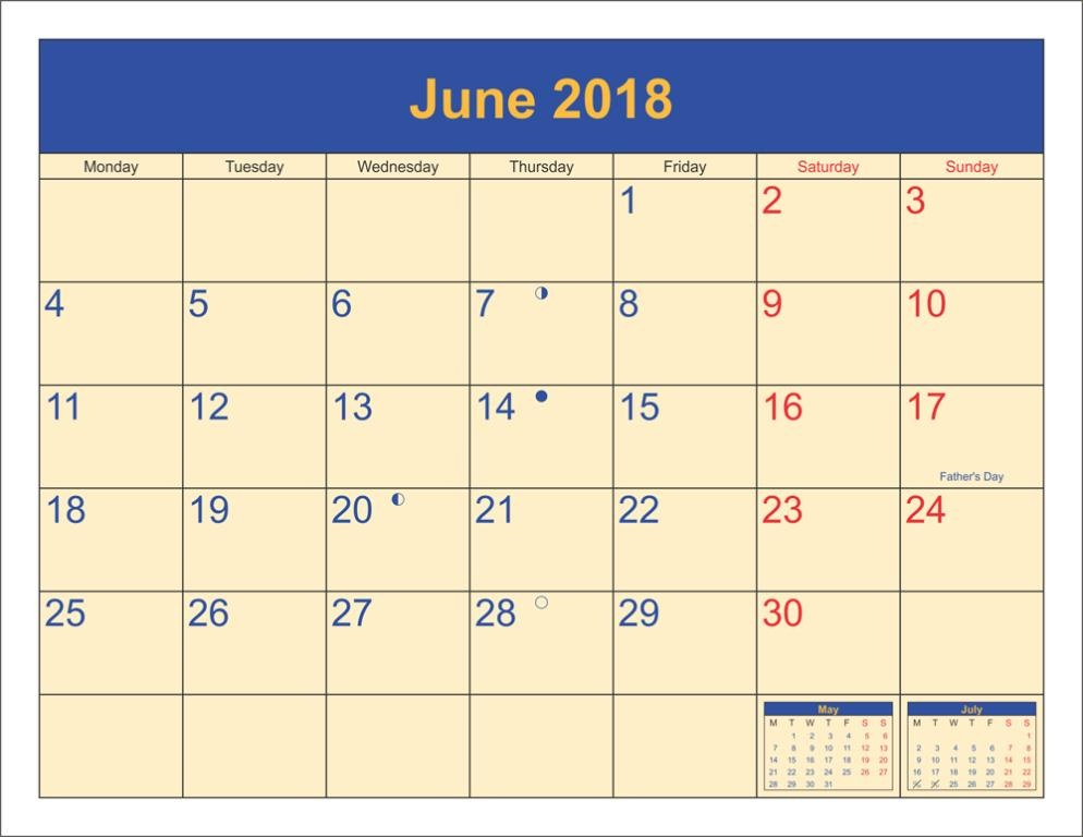 Printable June 2018 Calendar With Holidays