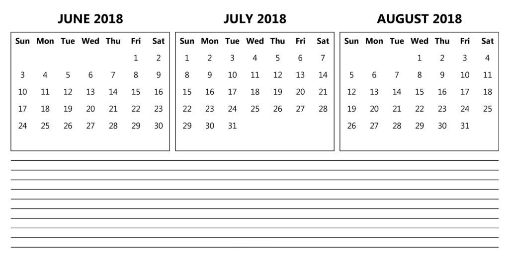 Printable June July August 2018 Calendar  3 Month Template Download