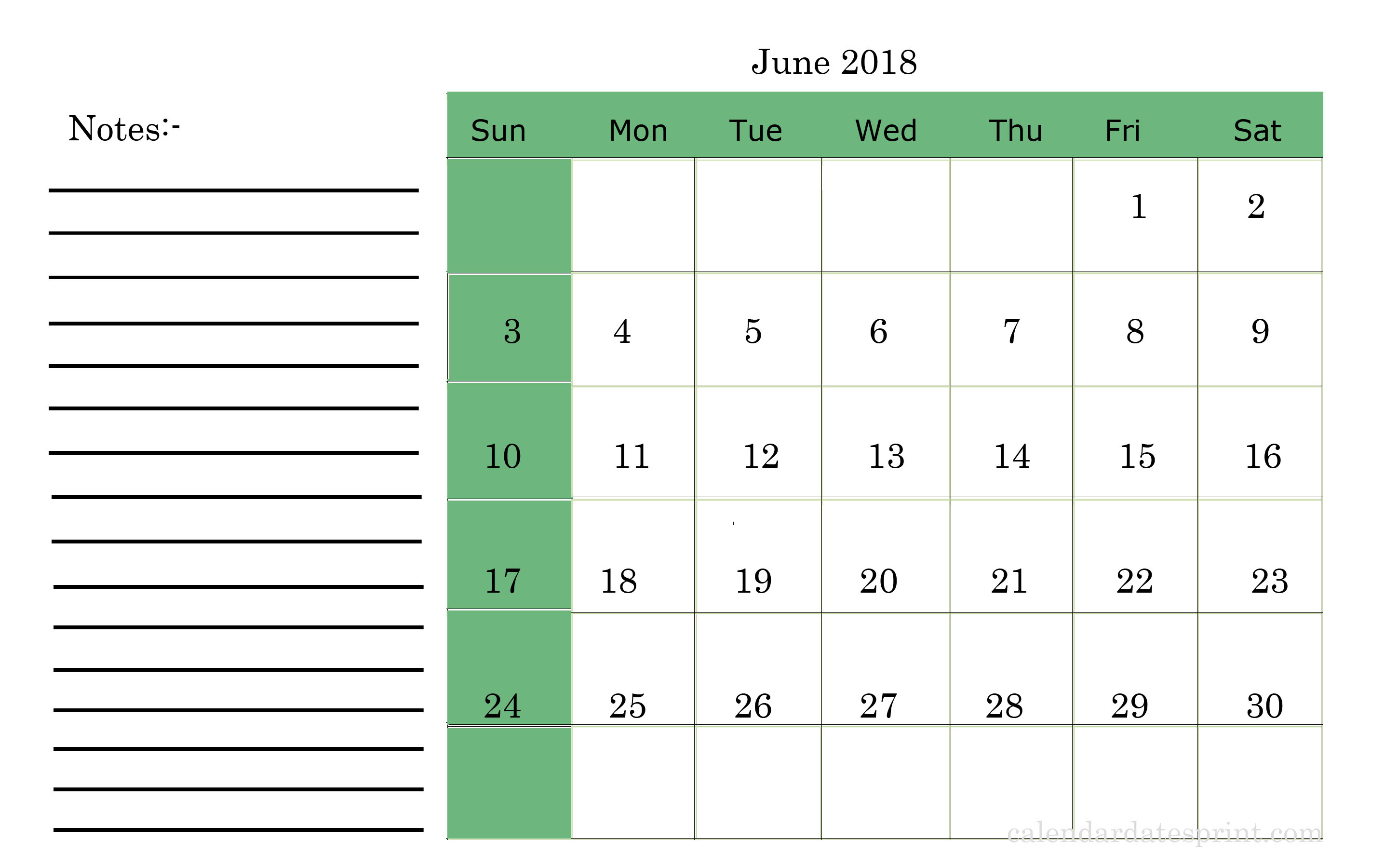 Printable June Month 2018 Calendar with Notes