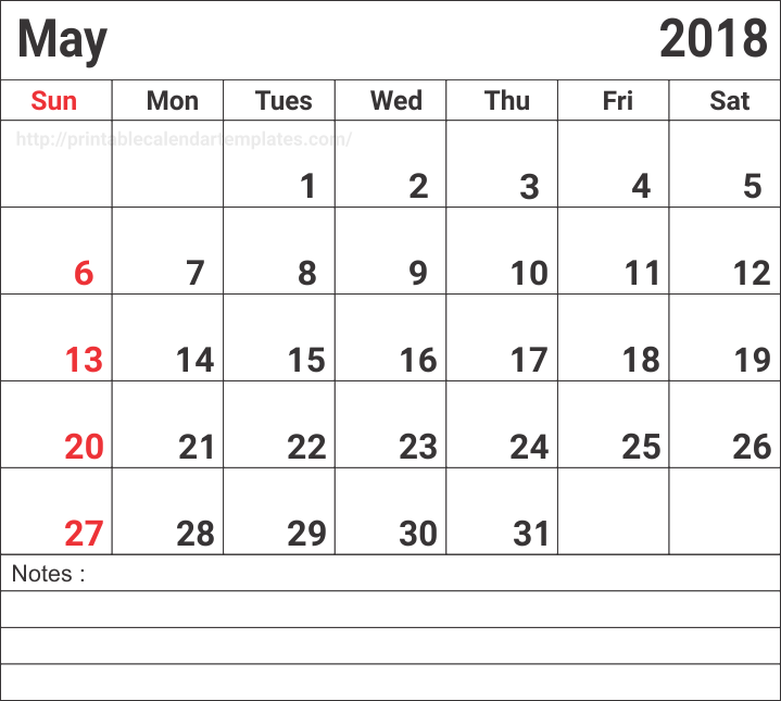Printable May 2018 Calendar With Notes
