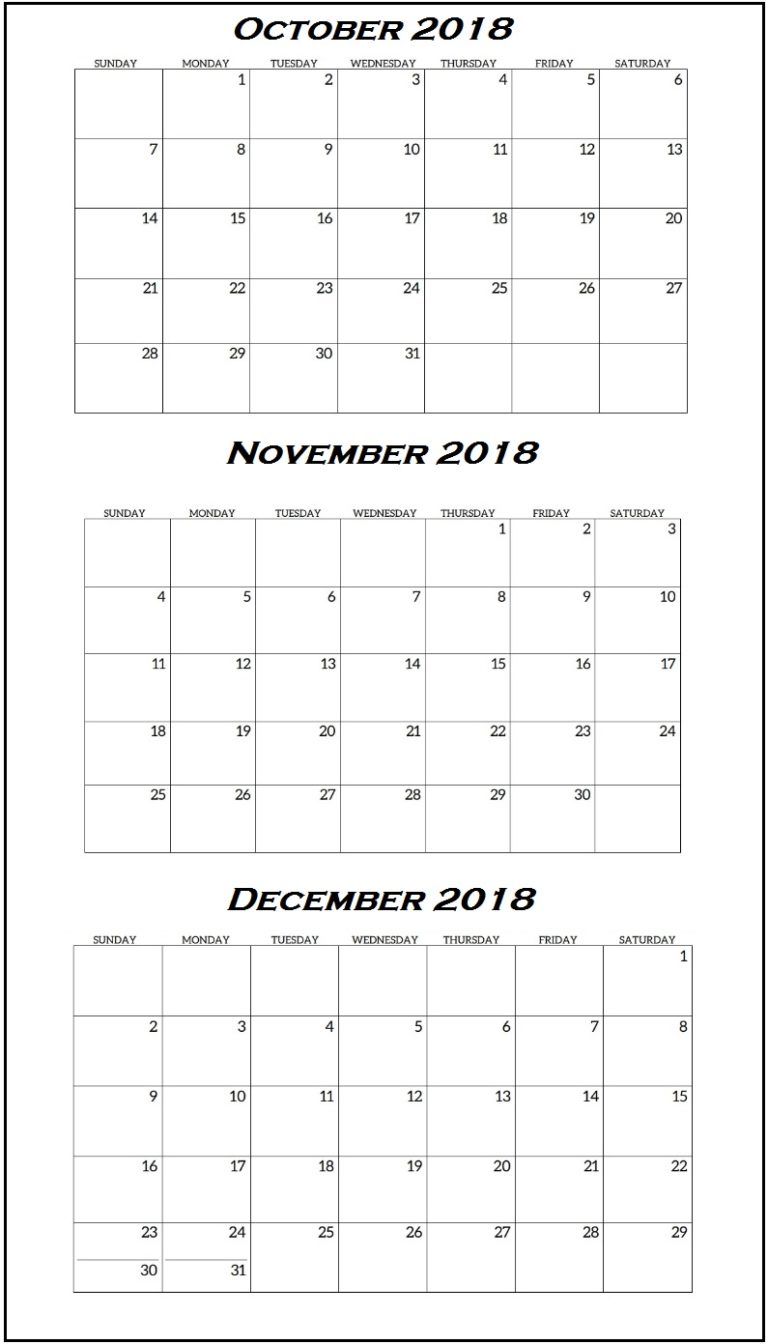 Quarterly Calendar October To December 2018