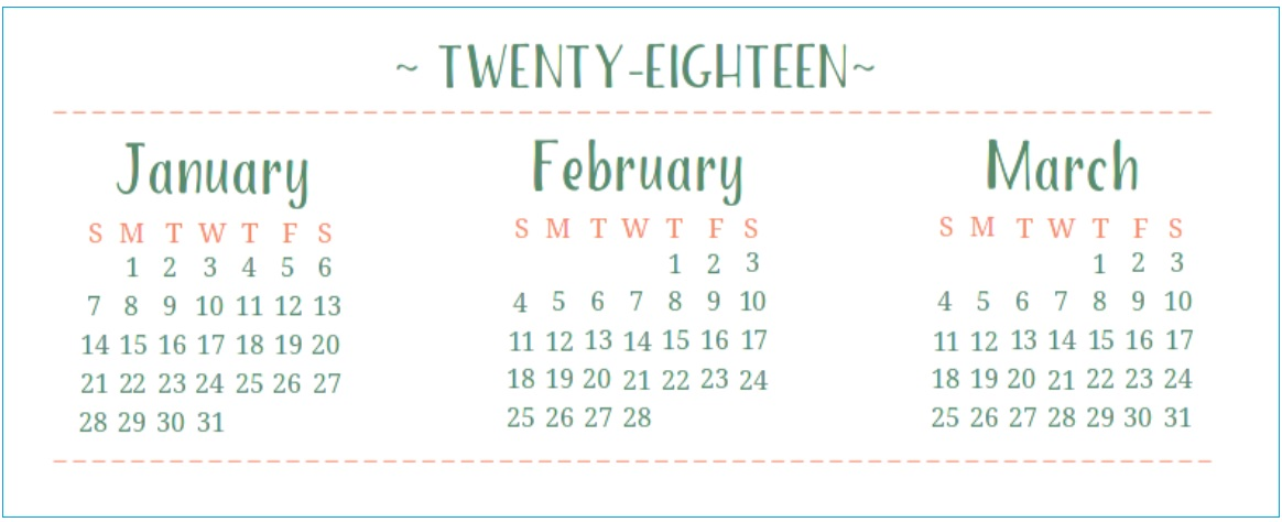Quarterly Printable Calendar 2018