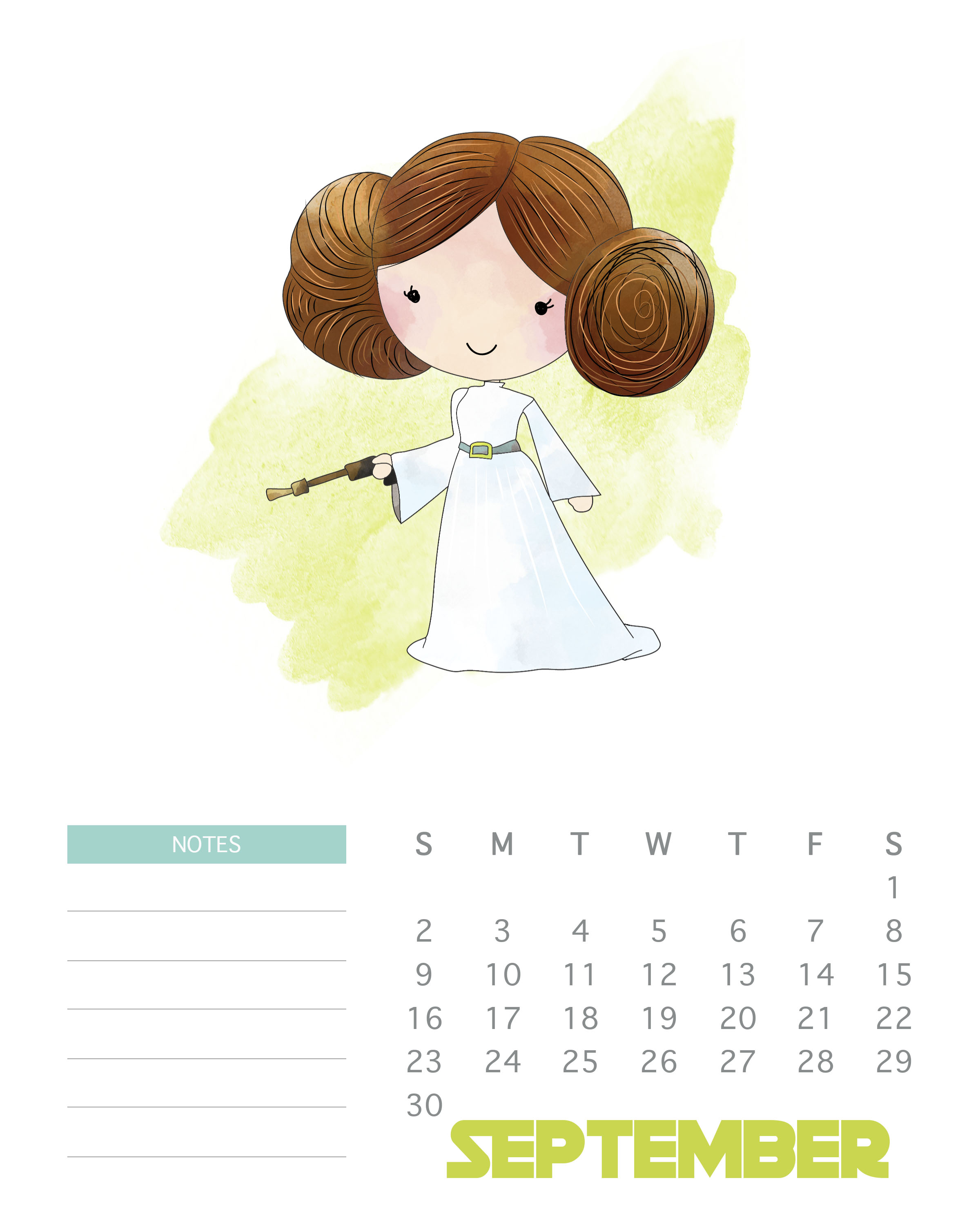 September 2018 Star Wars Calendar, Formal Calendar September 2018