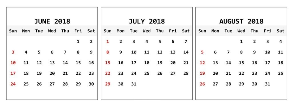 Three Month June July August 2018 Calendar